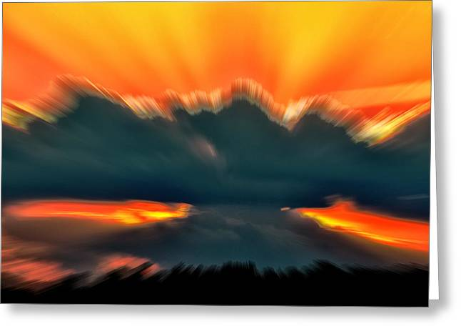 Sunset Abstract Digital Greeting Cards - Sunset Abstract Greeting Card by Chris Flees