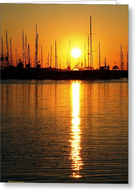 Ventura California Greeting Cards - Sunset Across the Harbor Greeting Card by Craig Chambers