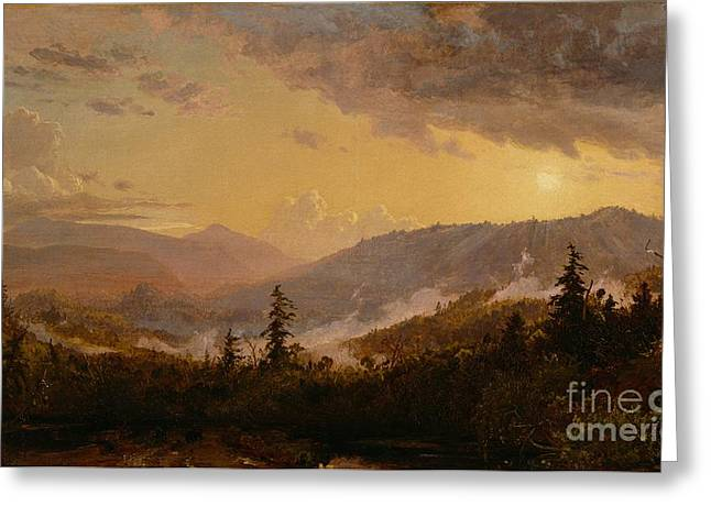 Rolling Hills Greeting Cards - Sunset after a Storm in the Catskill Mountains Greeting Card by Jasper Francis Cropsey