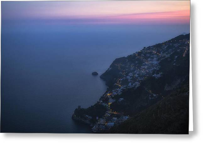 Med Greeting Cards - sunset Amalfi Coast Greeting Card by Joana Kruse