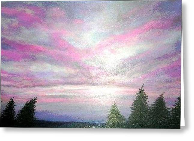 Sunset Amongst Spruces Greeting Card by Marie-Line Vasseur