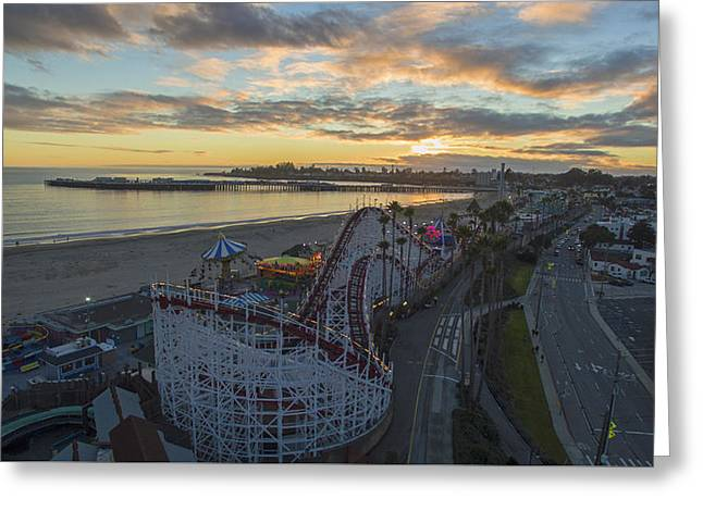Sunset Amusement Greeting Card by David Levy