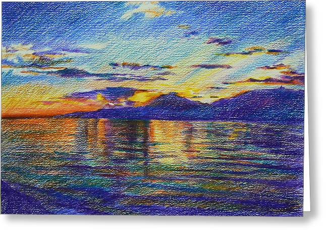 Sunset Seascape Drawings Greeting Cards - Sunset Greeting Card by Anastasia Michaels