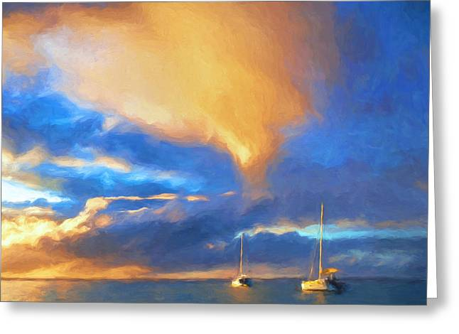 Lahaina Greeting Cards - Sunset Anchorage at Hanalei Bay Greeting Card by Dominic Piperata