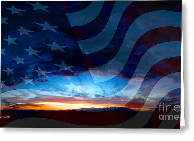 Sunset And American Flag Greeting Card by Annie Zeno