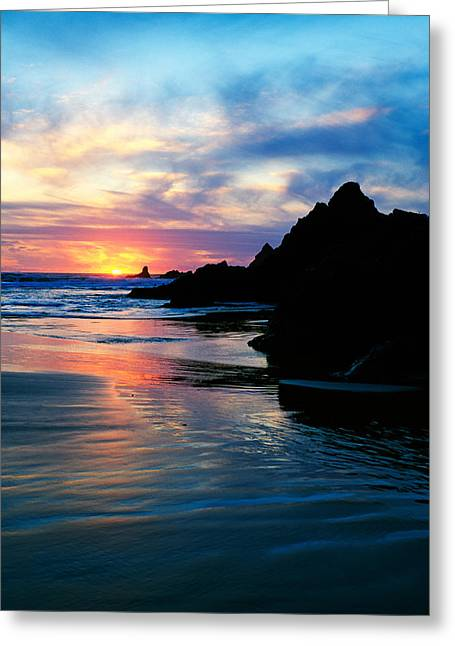 Sunset And Clouds Over Crescent Beach Greeting Card by Panoramic Images