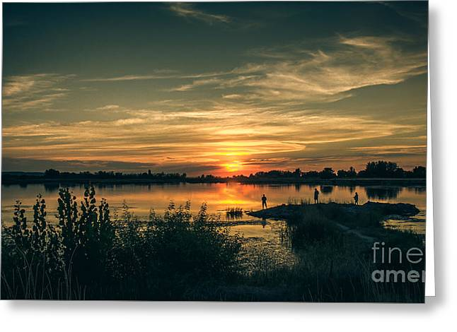 Sunset And Fishing Greeting Card by Robert Bales