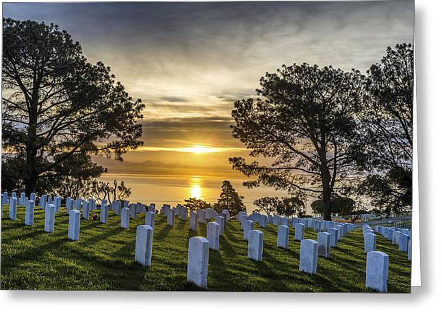 National Cemetery Greeting Cards - Sunset and Memories Greeting Card by Joseph S Giacalone