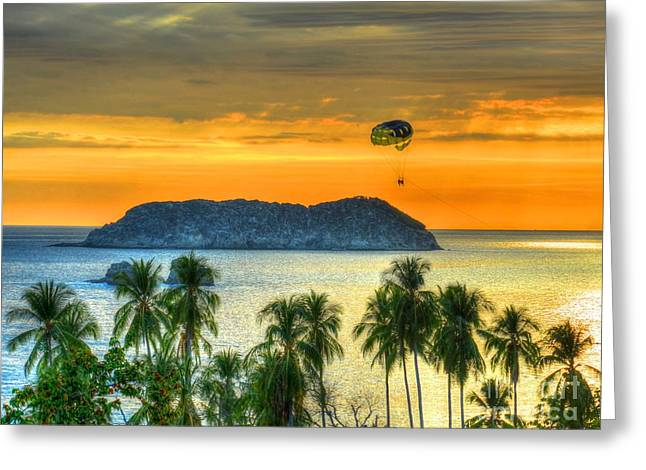 Sunset And Parasail Greeting Card by Debbi Granruth