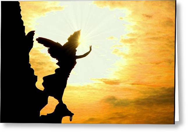 Sunset Angel Greeting Card by Valentino Visentini