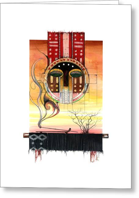 African-american Mixed Media Greeting Cards - SunSet Greeting Card by Anthony Burks Sr