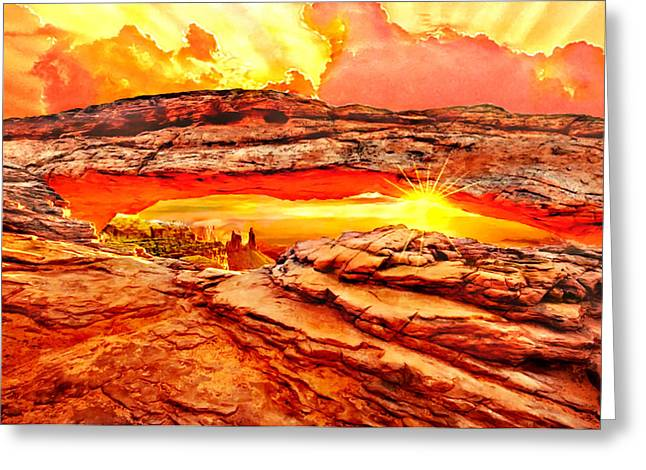Mountain Valley Greeting Cards - Sunset Arches National Park Greeting Card by  Bob and Nadine Johnston