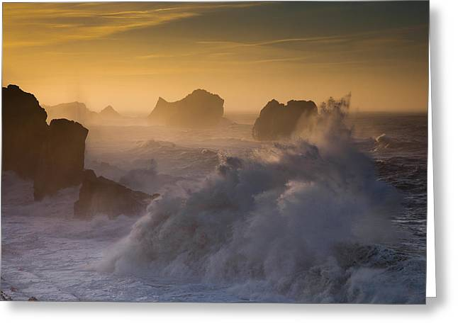 Waves Splash Greeting Cards - Sunset. Arnia. Cantabria. Spain Greeting Card by Martin Zalba
