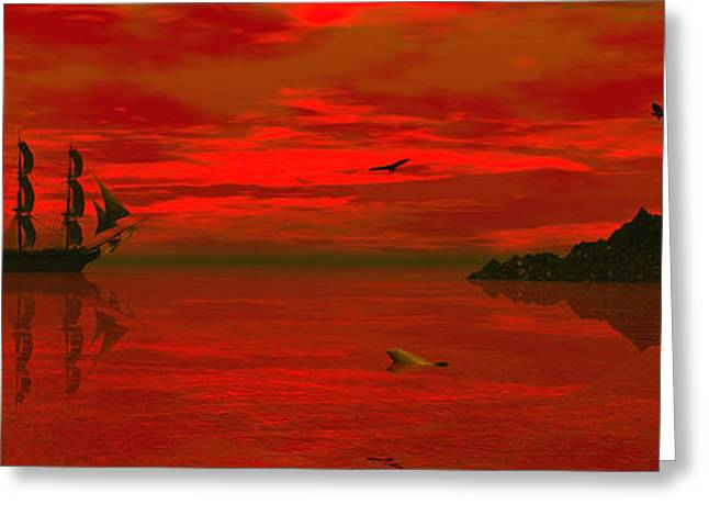 """sailing Ship"" Greeting Cards - Sunset arrival Greeting Card by Claude McCoy"