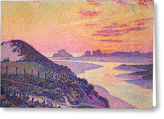 Pointillist Paintings Greeting Cards - Sunset at Ambleteuse Pas-de-Calais Greeting Card by Theo van Rysselberghe