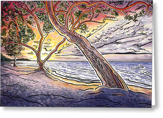 Sunset At Anaehoomalu Bay Greeting Card by Fay Biegun - Printscapes