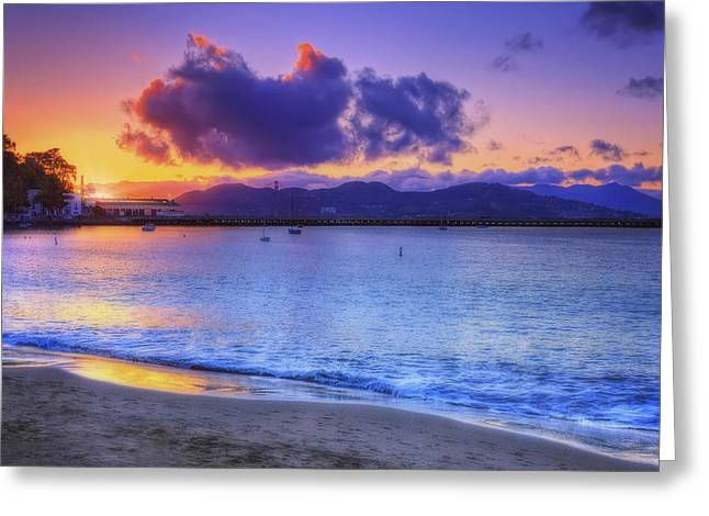 California Beach Greeting Cards - Sunset at Aquatic Park Cove - San Francisco California Greeting Card by Jennifer Rondinelli Reilly