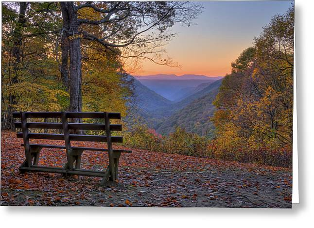 Sunset At Babcock Greeting Card by Williams-Cairns Photography LLC