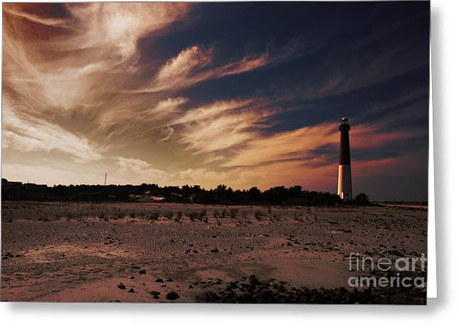 Ocean Sailing Greeting Cards - Sunset at Barnegat Light Greeting Card by Tom Gari Gallery-Three-Photography