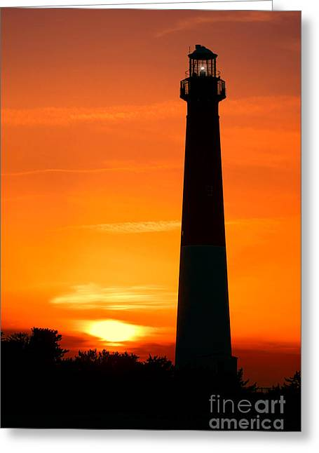 Guiding Light Greeting Cards - Sunset at Barnegat Lighthouse Greeting Card by Olivier Le Queinec