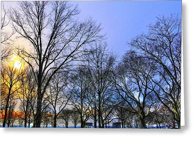 Battery Park Greeting Cards - Sunset at Battery Park Too Greeting Card by Randy Aveille
