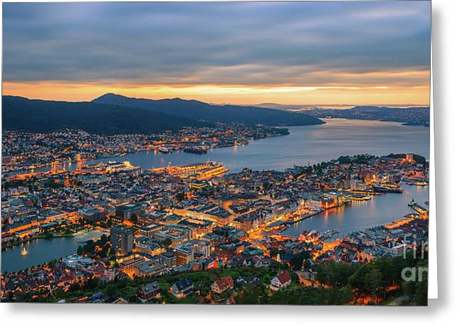 Sunset At Bergen As Seen From Mount Floyen, Norway. Greeting Card by Henk Meijer Photography