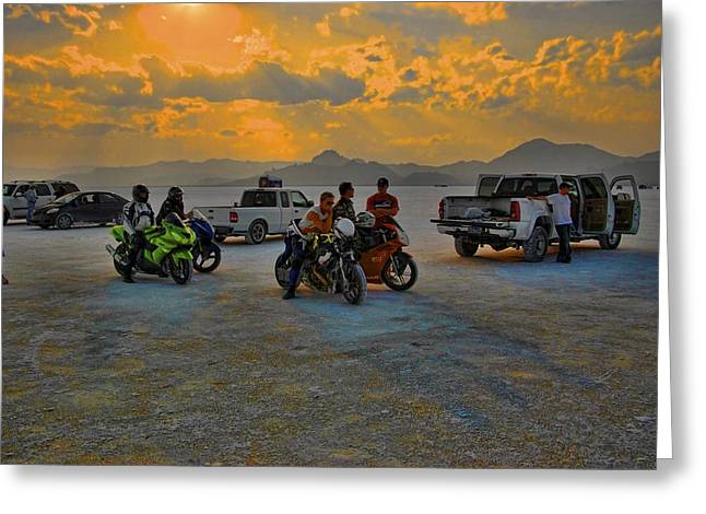 Salt Flats Racer Greeting Cards - Sunset at Bonneville Greeting Card by Nick Roberts