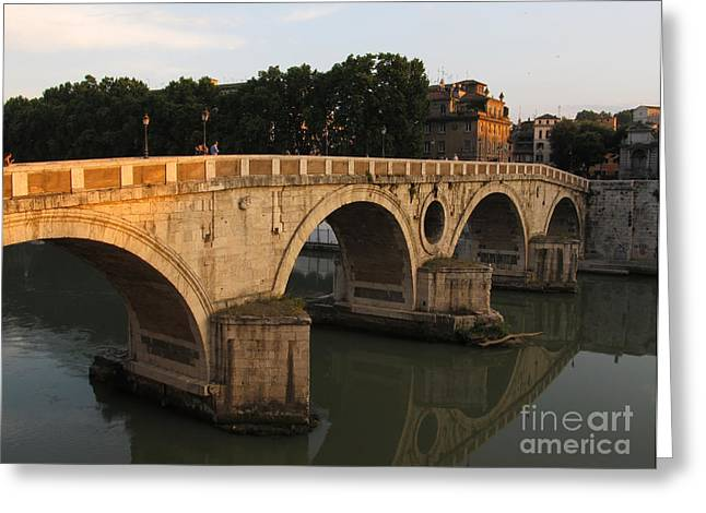 Italian Sunset Greeting Cards - Sunset at bridge Ponte Sisto in Rome Greeting Card by Kiril Stanchev