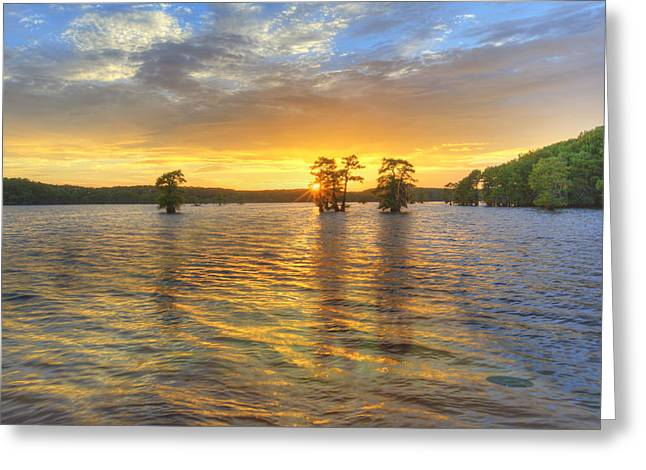 Caddo Lake Greeting Cards - Sunset at Caddo Lake 4 Greeting Card by Rob Greebon