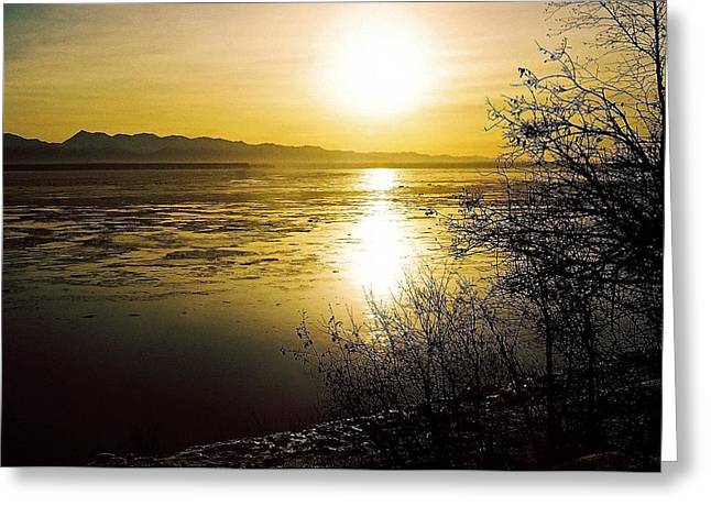 Sonne Greeting Cards - Sunset at Cook Inlet - Alaska Greeting Card by Juergen Weiss