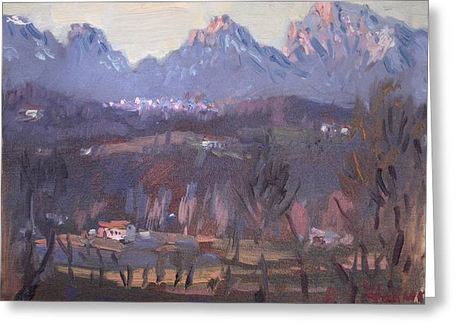 Sunset At Dolomites Belluno Greeting Card by Ylli Haruni