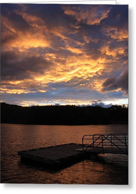 Dunn Greeting Cards - Sunset at Dunn Pond Gardner MA  Greeting Card by John Burk