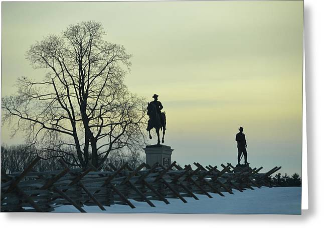 Sunset At Gettysburg In Winter Greeting Card by Bill Cannon
