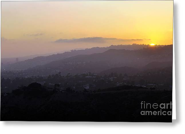 Clayton Greeting Cards - Sunset at Griffeth Observatory Greeting Card by Clayton Bruster