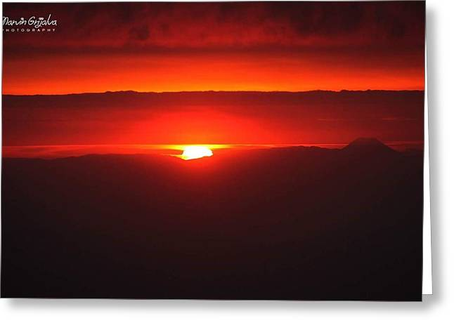 Sunshine Pyrography Greeting Cards - Sunset at Guatemala Greeting Card by Marvin Grijalva