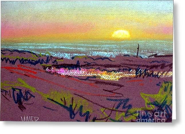 Plein Air Pastels Greeting Cards - Sunset at Half Moon Bay Greeting Card by Donald Maier