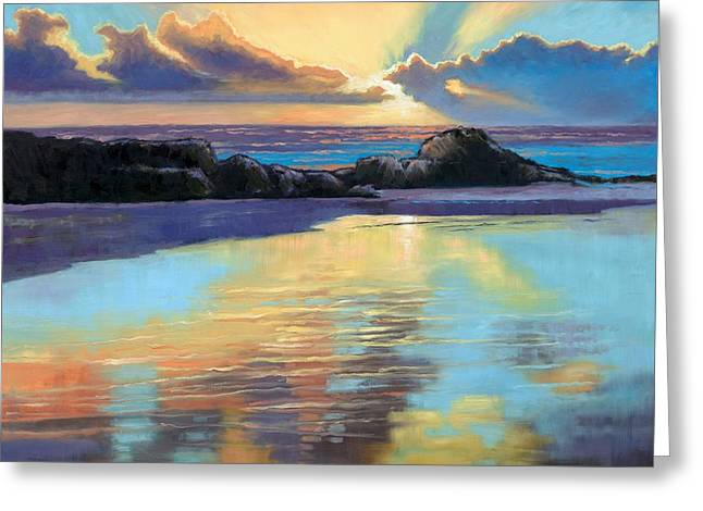 Beaches Of Norway Greeting Cards - Sunset at Havika Beach Greeting Card by Janet King