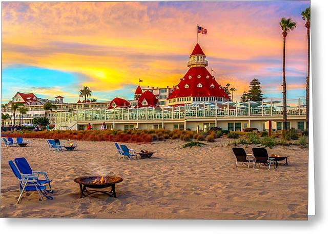 Sunset At Hotel Del Coronado Greeting Card by James Udall