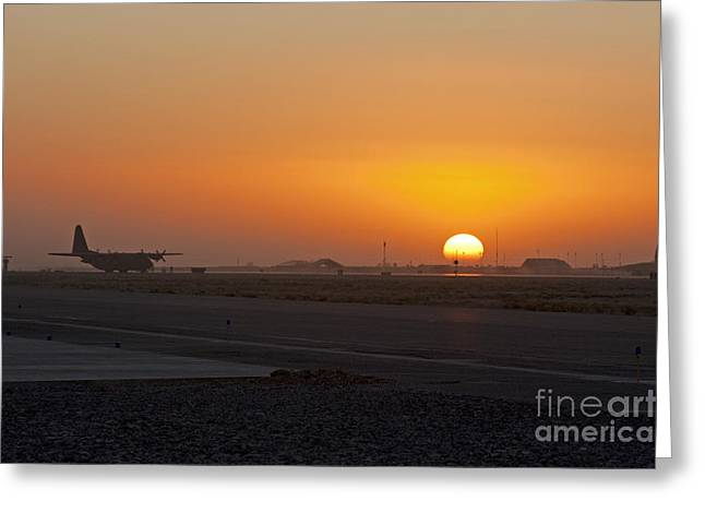 C-130 Greeting Cards - Sunset at Kandahar Greeting Card by Tim Grams