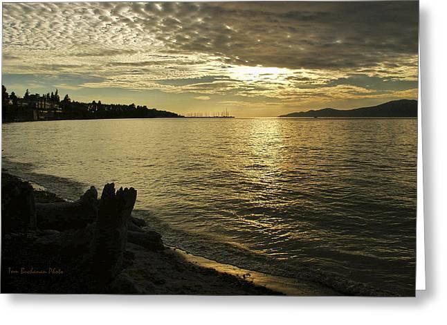 Burrard Inlet Greeting Cards - Sunset at Kitsilano Greeting Card by Tom Buchanan