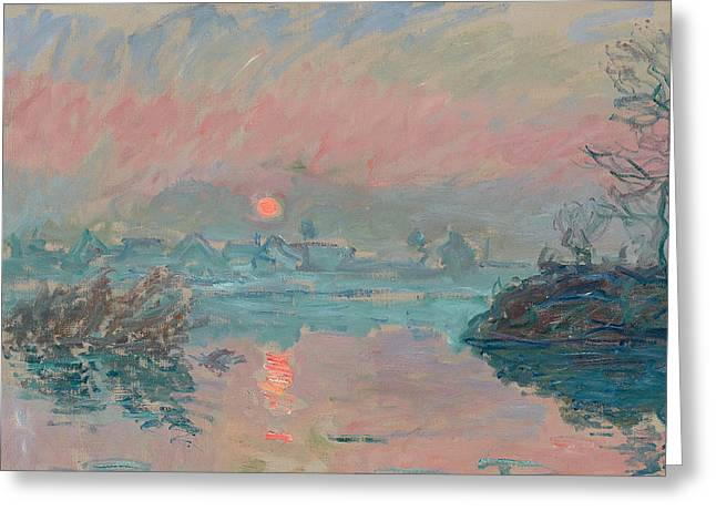 Reflections In River Greeting Cards - Sunset at Lavacourt Greeting Card by Claude Monet