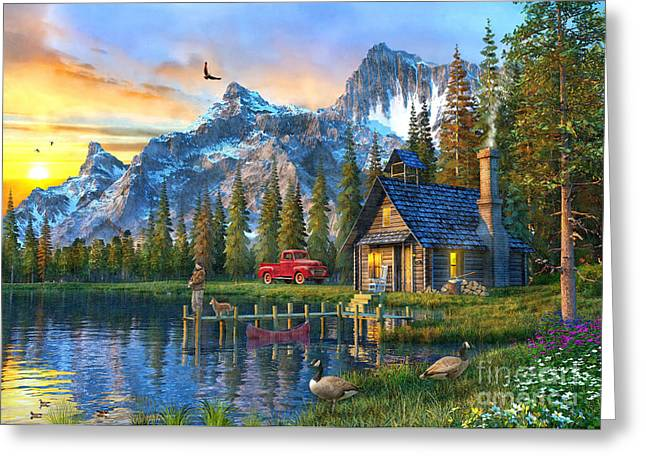 Mountain Cabin Greeting Cards - Sunset at Log Cabin Greeting Card by Dominic Davison