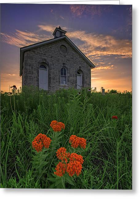 Flint Greeting Cards - Sunset at Lower Fox Creek Schoolhouse Greeting Card by Rick Berk