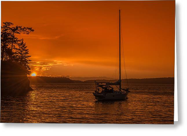 Sailboat Ocean Greeting Cards - Sunset at Matia Island Greeting Card by Erich Schultz
