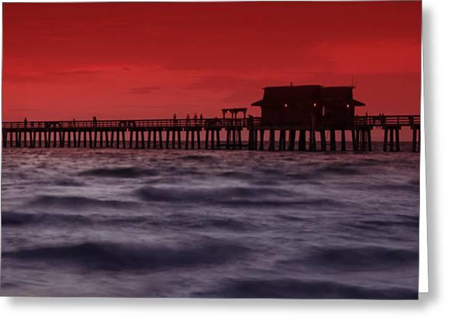 Sunset at Naples Pier Greeting Card by Melanie Viola