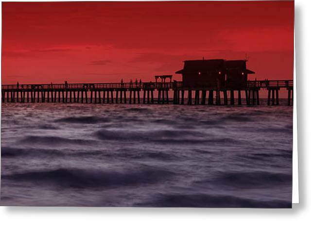 Panoramic Ocean Photographs Greeting Cards - Sunset at Naples Pier Greeting Card by Melanie Viola