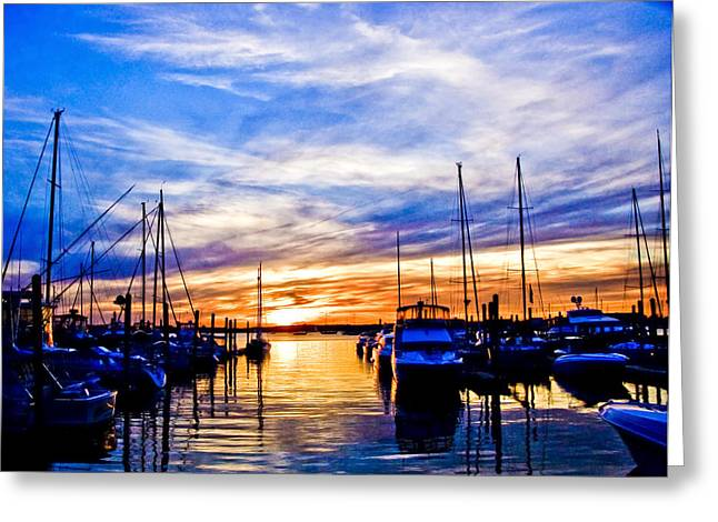 Boat Slip Greeting Cards - Sunset at Newport Greeting Card by Ches Black