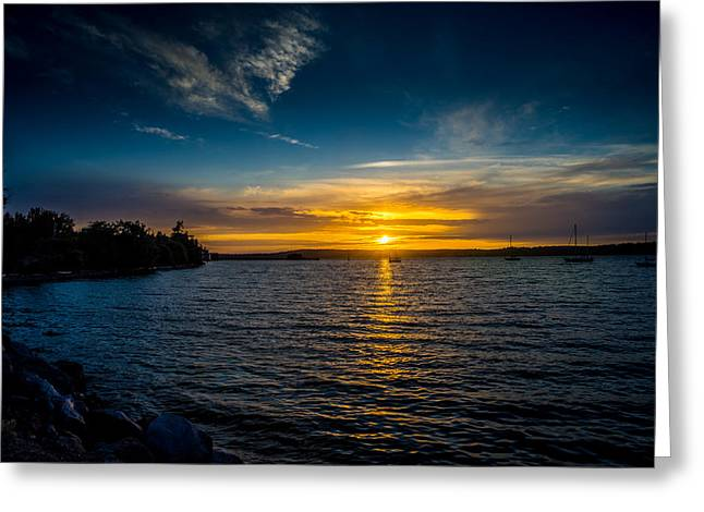 Sunset At Penn Cove Greeting Card by TL  Mair
