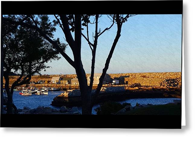 Boats In Water Greeting Cards - Sunset At Pigeon Cove Greeting Card by Harriet Harding