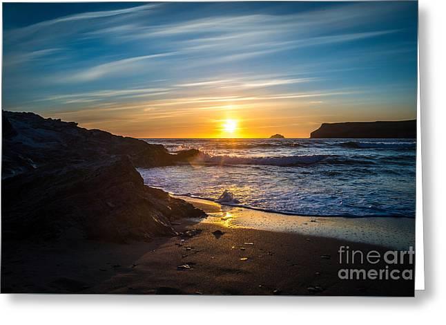 Sunset At Polzeath, Cornwall, Uk Greeting Card by Amanda Elwell